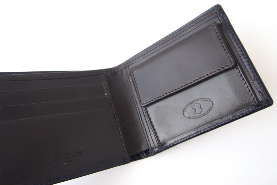 シンプソン ロンドン|SIMPSON LONDON|小銭入れ付き2つ折り財布|コードバン|ネイビーイメージ04
