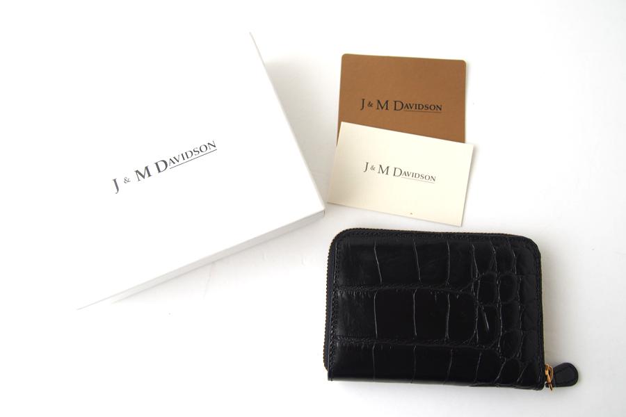 ジェイアンドエムデヴィッドソン|J&M Davidson|クロコ型押しラウンドファスナーカード&コインケース|ブラックイメージ010