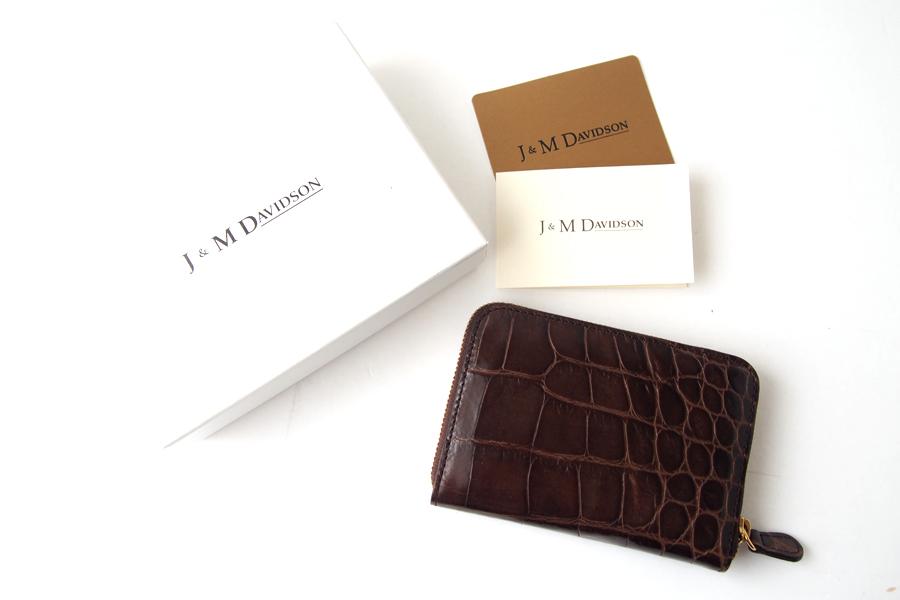 ジェイアンドエムデヴィッドソン|J&M Davidson|クロコ型押しラウンドファスナーカード&コインケース|ブラウンイメージ010