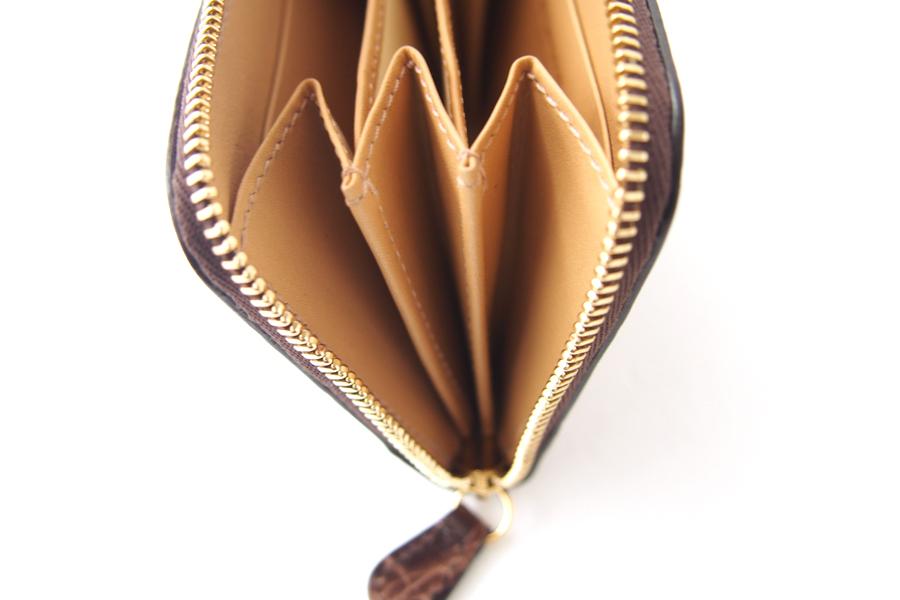 ジェイアンドエムデヴィッドソン|J&M Davidson|クロコ型押しラウンドファスナーカード&コインケース|ブラウンイメージ08