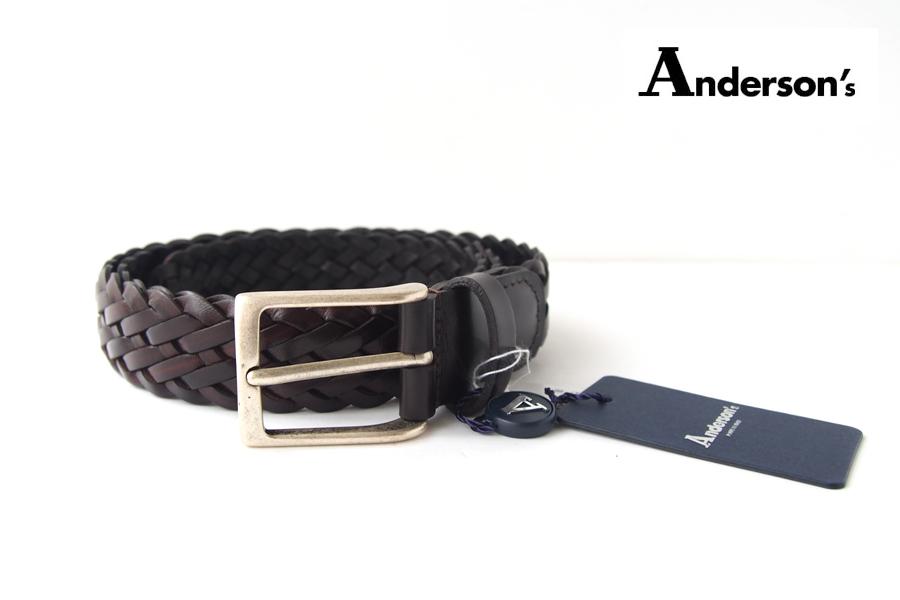 アンダーソンズ|Anderson's|レザーメッシュベルト|ブラウン|85イメージ01