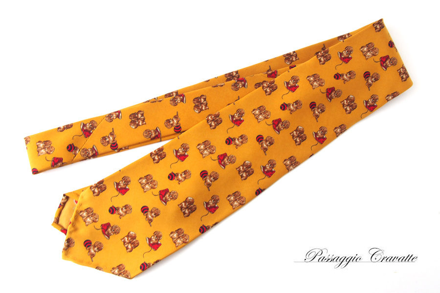 パッサッジョ クラバッテ|Passaggio Cravatte|ドッグ柄プリントシルクネクタイイメージ01