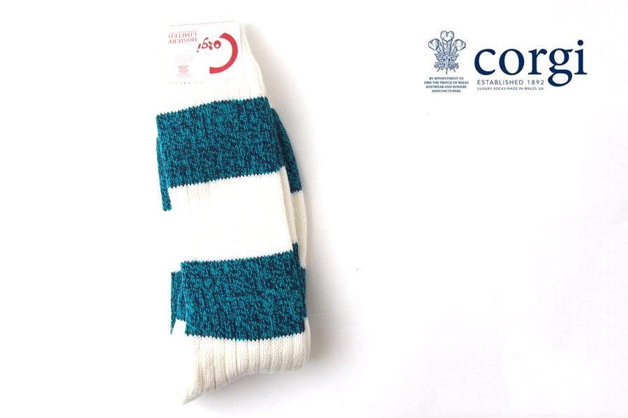 コーギー|corgi|ソフトコットンカジュアルソックス|靴下|ボーダー柄|グリーン×ホワイトイメージ01
