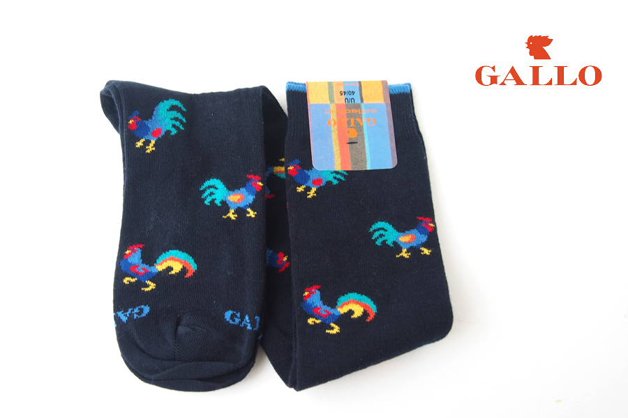 ガッロ GALLO ロングホース ソックス GAM799173 にわとり柄 ネイビーイメージ01