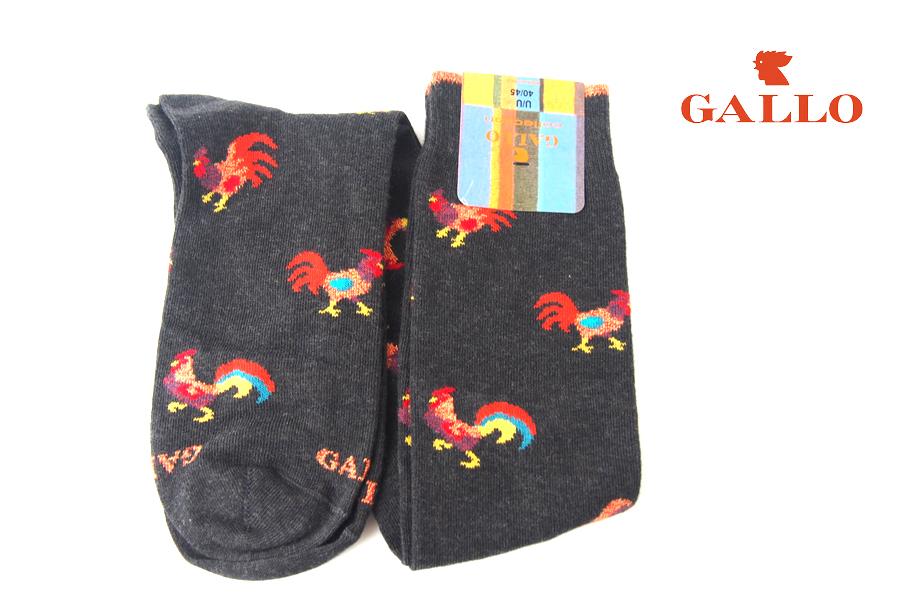 ガッロ|GALLO|ロングホース ソックス|GAM799173|にわとり柄|グレイイメージ01