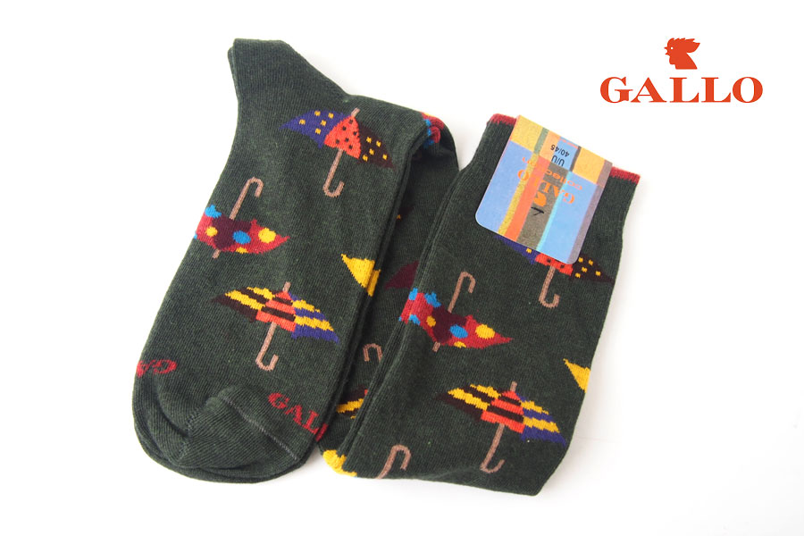 ガッロ|GALLO|ロングホース ソックス|GAM798636|アンブレラ柄|グリーンイメージ01