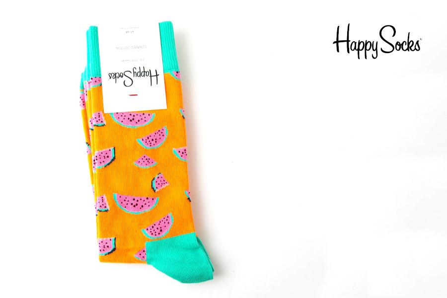 ハッピーソックス|happy socks|クルー丈カジュアルソックス|すいか柄|Watermelon|オレンジイメージ01