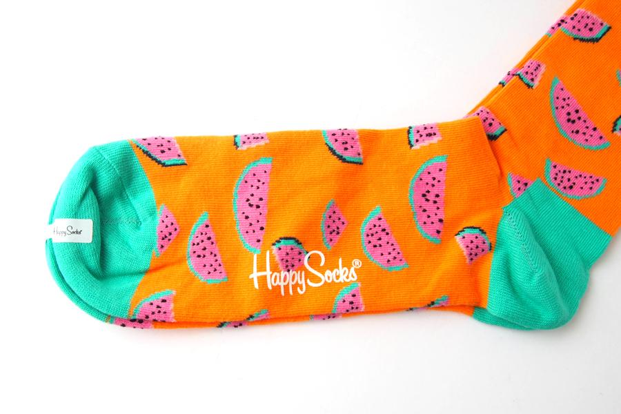 ハッピーソックス|happy socks|クルー丈カジュアルソックス|すいか柄|Watermelon|オレンジイメージ03