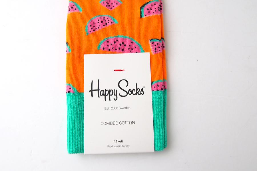ハッピーソックス|happy socks|クルー丈カジュアルソックス|すいか柄|Watermelon|オレンジイメージ04