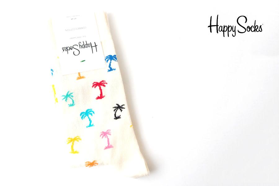 ハッピーソックス|happy socks|クルー丈カジュアルソックス|パーム ビーチ| PLAM BEACH|ホワイトイメージ01