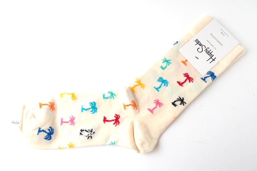 ハッピーソックス|happy socks|クルー丈カジュアルソックス|パーム ビーチ| PLAM BEACH|ホワイトイメージ02