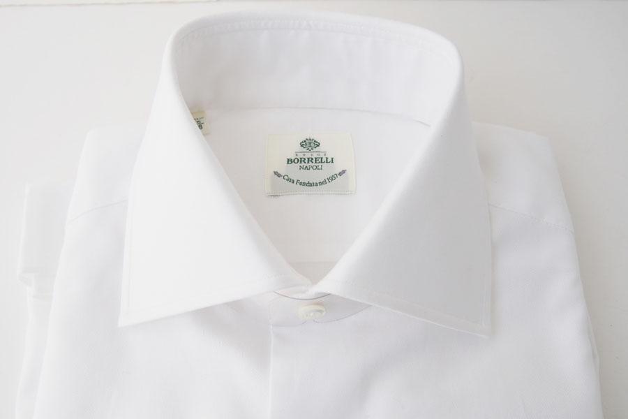 ルイジボレッリ|LUIGI BORRELLI|無地セミワイドカラーシャツ|LUCIANO|SN06|38|ホワイトイメージ02