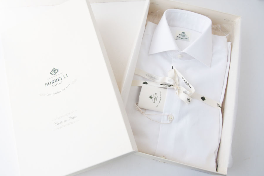 ルイジボレッリ|LUIGI BORRELLI|無地セミワイドカラーシャツ|LUCIANO|SN06|38|ホワイトイメージ03