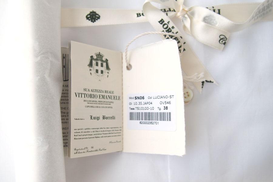 ルイジボレッリ|LUIGI BORRELLI|無地セミワイドカラーシャツ|LUCIANO|SN06|38|ホワイトイメージ06