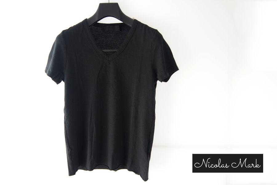 ニコラス&マーク|Nicolas & Mark|Vネック半袖Tシャツ|M|ブラックイメージ01