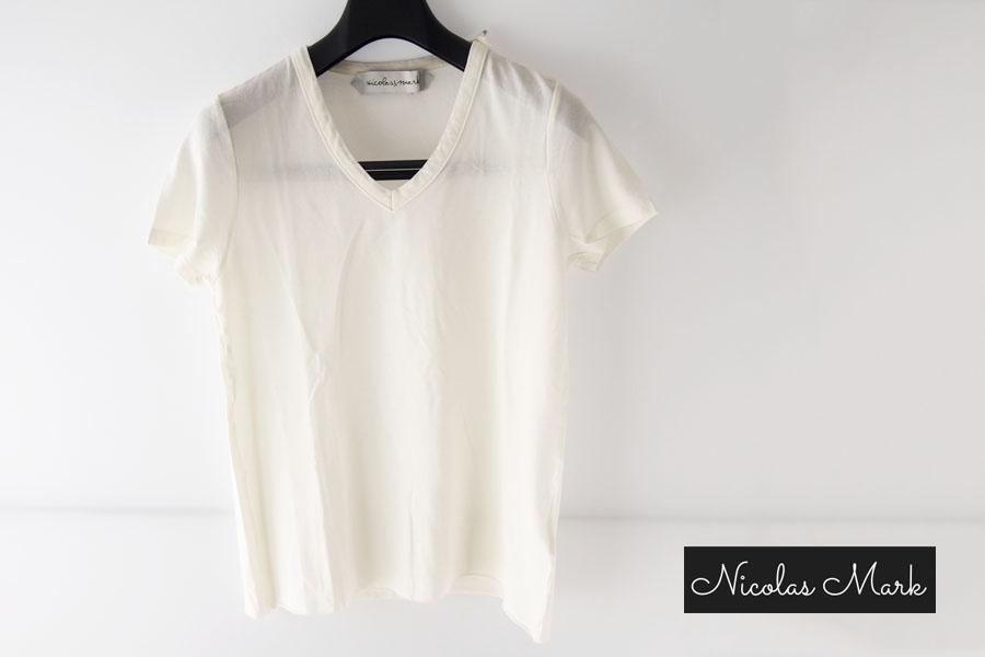 ニコラス&マーク|Nicolas & Mark|Vネック半袖Tシャツ|M|アイボリーイメージ01