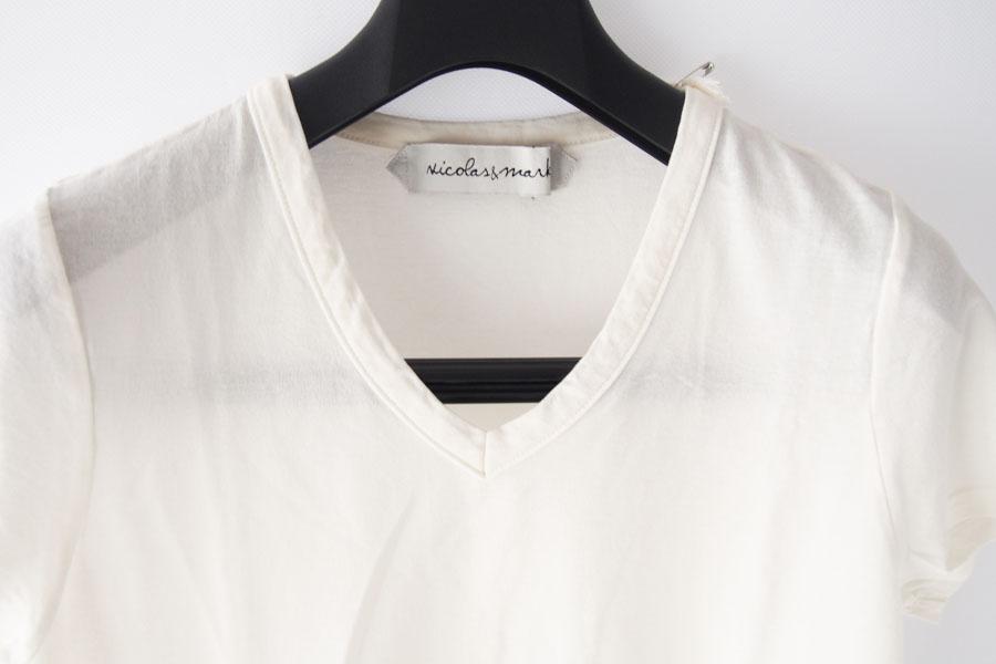 ニコラス&マーク|Nicolas & Mark|Vネック半袖Tシャツ|M|アイボリーイメージ02