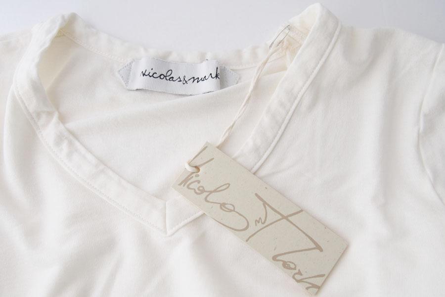 ニコラス&マーク|Nicolas & Mark|Vネック半袖Tシャツ|M|アイボリーイメージ05