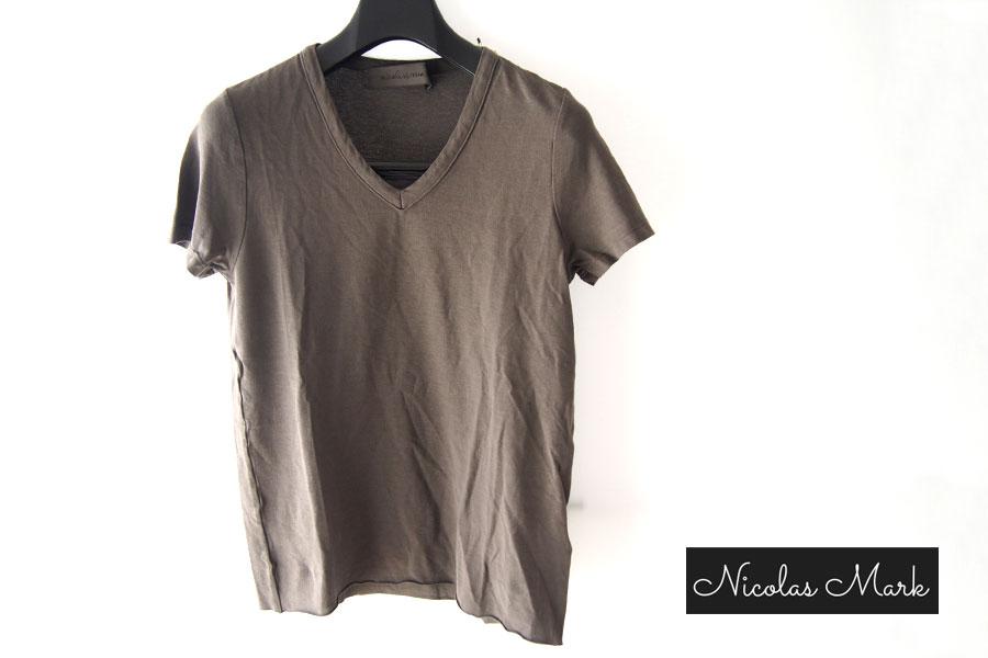 ニコラス&マーク|Nicolas & Mark|Vネック半袖Tシャツ|M|カーキブラウンイメージ01