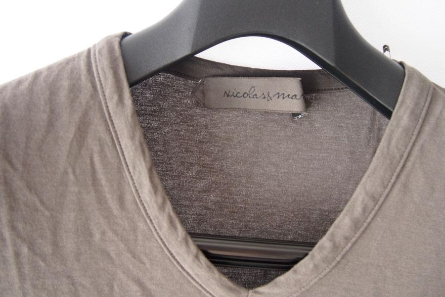 ニコラス&マーク|Nicolas & Mark|Vネック半袖Tシャツ|M|カーキブラウンイメージ02
