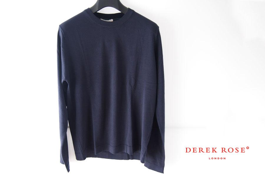 デレクローズ|DEREK ROSE|ロングスリーブジャージートップ|ルームウェア|M|ネイビーイメージ01