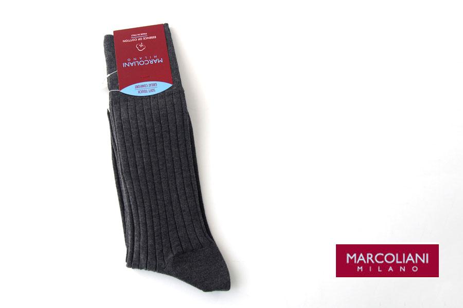マリコリアーニ|marcoliani|クルー丈リブソックス|Essence of Cotton|The dress code|グレイイメージ01