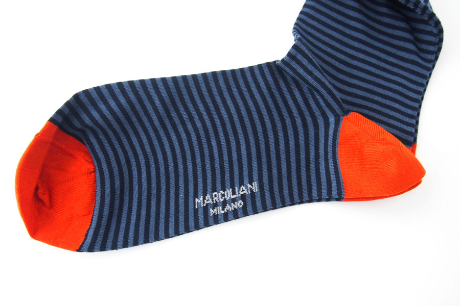 マリコリアーニ|marcoliani|ピマコットンクルー丈ボーダーソックス|ネイビー×ブルー×オレンジイメージ04