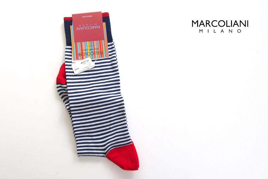 マリコリアーニ|marcoliani|ピマコットンクルー丈ボーダーソックス|トリコロールイメージ01