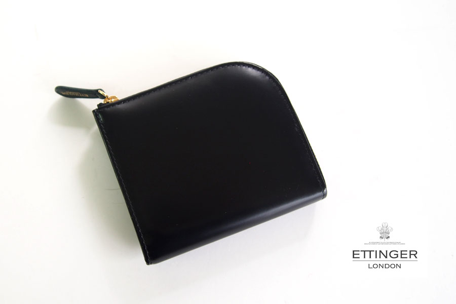 エッティンガー ETTINGER ブライドルレザーLジップマルチウォレット ブラック×グリーン イメージ01