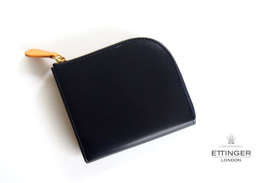エッティンガー ETTINGER ブライドルレザーLジップマルチウォレット ブラック×イエロー イメージ01