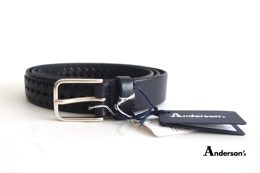 アンダーソンズ|Anderson's|レザーメッシュベルト|ブラック|95イメージ01