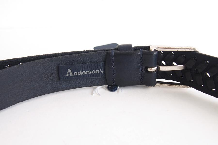 アンダーソンズ|Anderson's|レザーメッシュベルト|ブラック|95イメージ05
