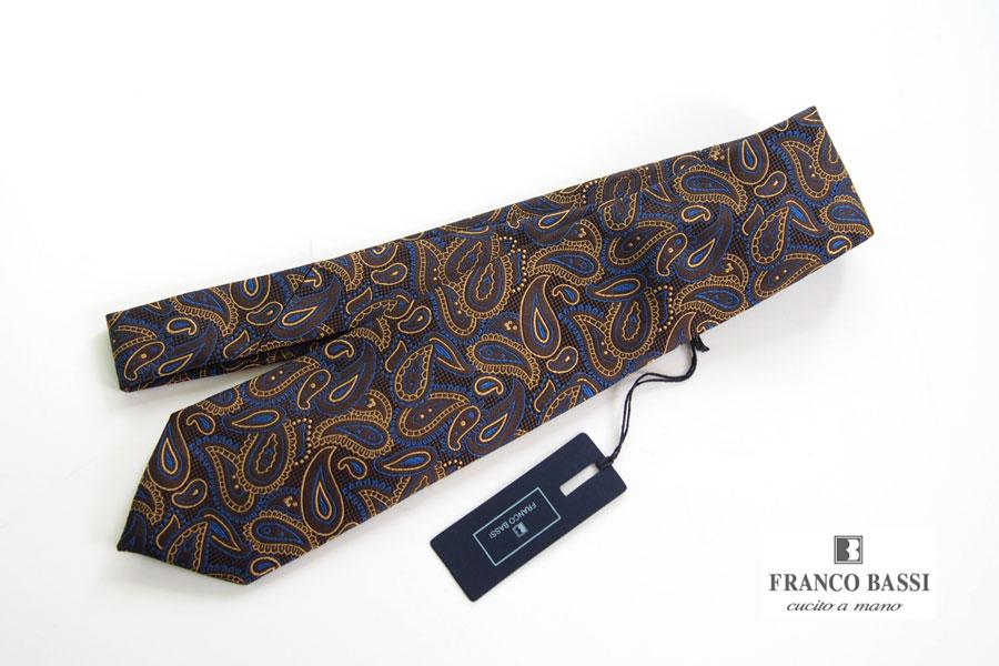 フランコバッシ|Franco Bassi|ペイズリー柄 シルクネクタイ|ゴールデン80's|ブラウン|イメージ01