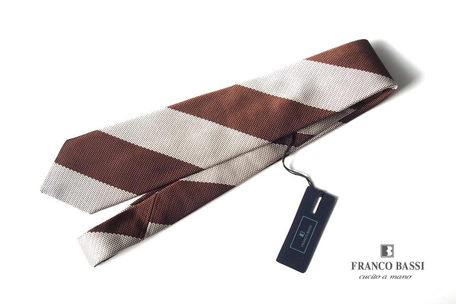 フランコバッシ|Franco Bassi|シルクフレスコレジメンタルネクタイ|ブラウン×ベージュ|イメージ01