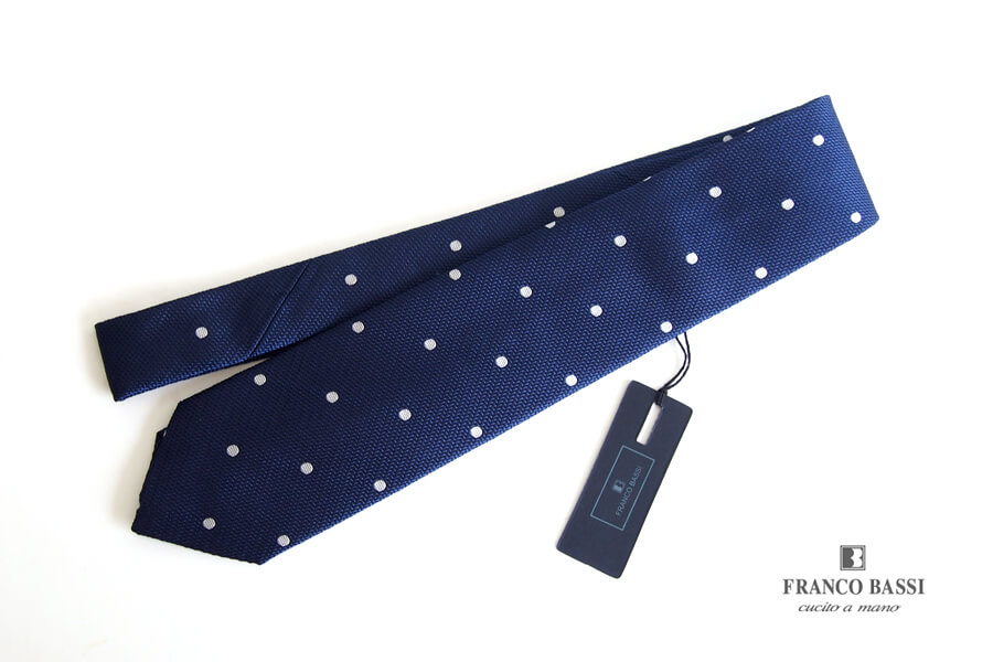 フランコバッシ|Franco Bassi|シルクフレスコドット柄ネクタイ|ネイビーイメージ01