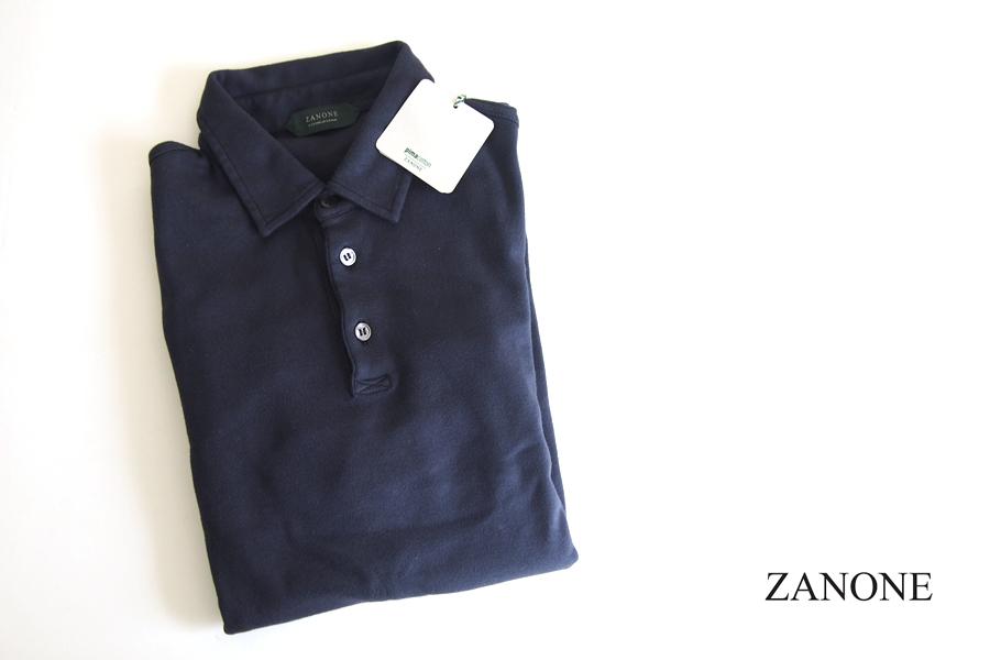 ザノーネ ZANONE ピマコットンロングスリーブポロシャツ 46 ネイビーイメージ01