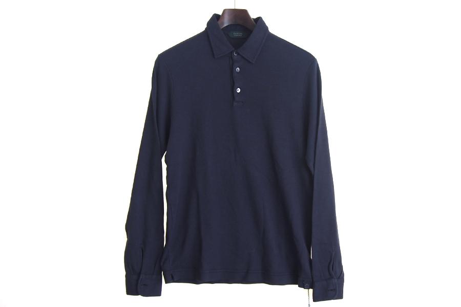 ザノーネ ZANONE ピマコットンロングスリーブポロシャツ 46 ネイビーイメージ05