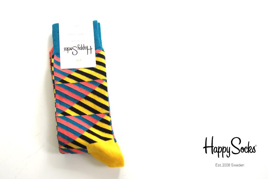 ハッピーソックス happy socks クルー丈カジュアルソックス ダイアゴナルストライプソックス DIAGONAL STRIPE 10113009イメージ01