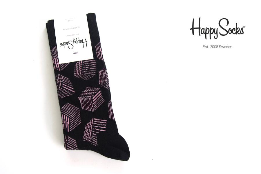 ハッピーソックス|happy socks|クルー丈カジュアルソックス|キューブ柄ソックス|BOX|10117004イメージ01