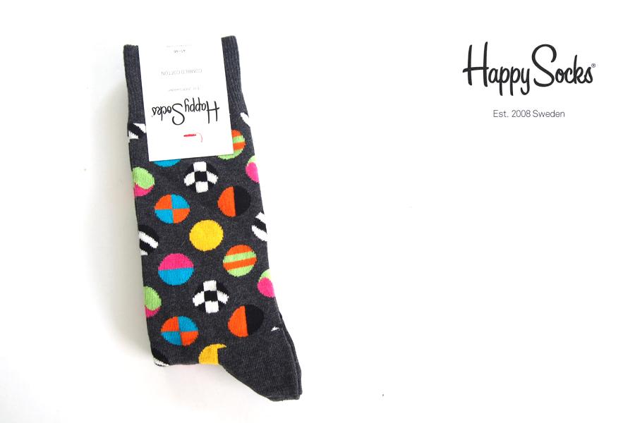 ハッピーソックス|happy socks|クルー丈カジュアルソックス|マルチドット柄ソックス|CLASHING DOT|10117007|グレイイメージ01