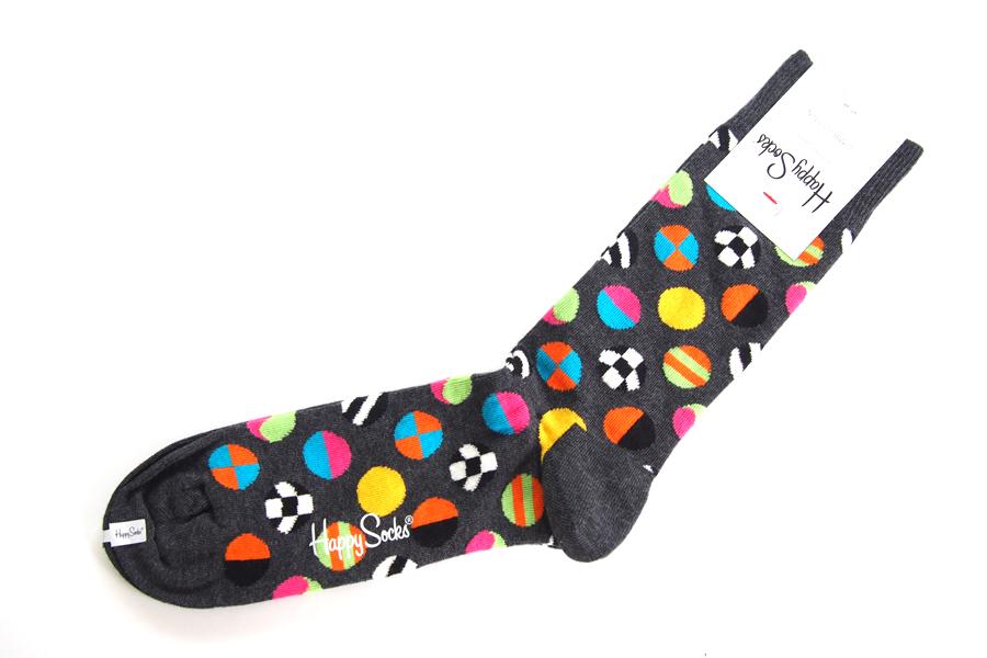 ハッピーソックス|happy socks|クルー丈カジュアルソックス|マルチドット柄ソックス|CLASHING DOT|10117007|グレイイメージ02