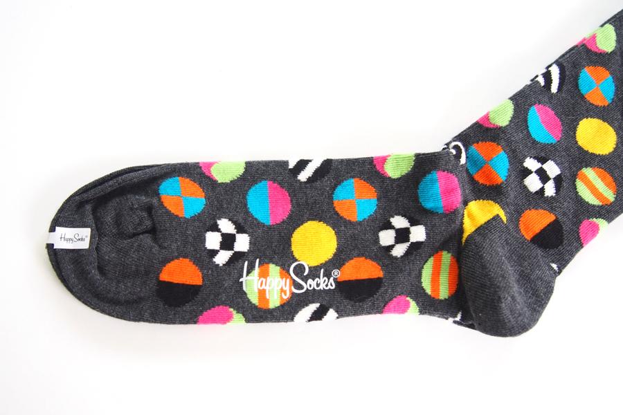 ハッピーソックス|happy socks|クルー丈カジュアルソックス|マルチドット柄ソックス|CLASHING DOT|10117007|グレイイメージ03