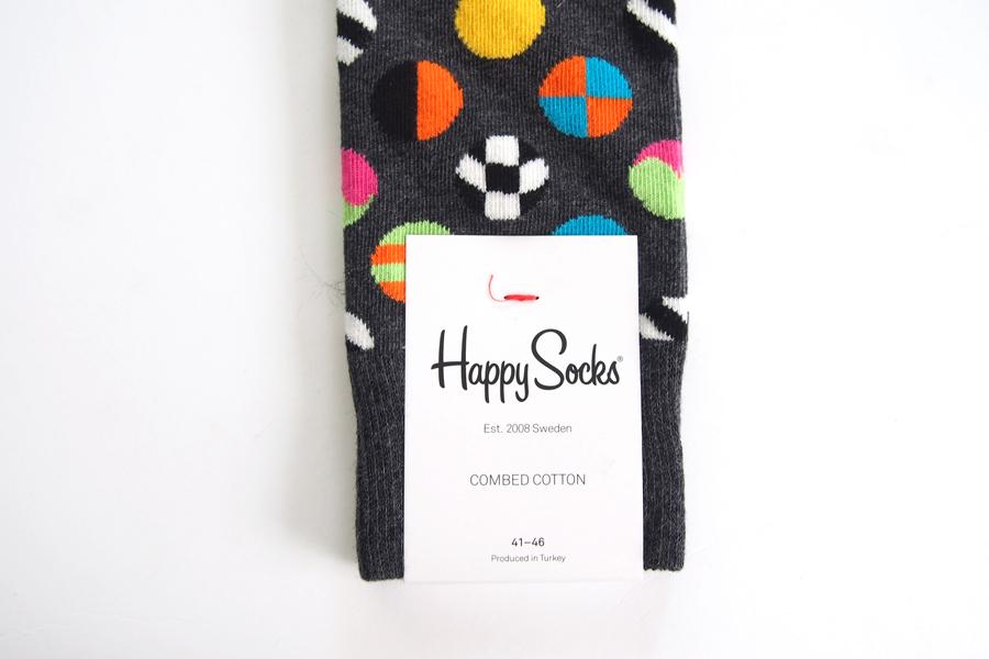 ハッピーソックス|happy socks|クルー丈カジュアルソックス|マルチドット柄ソックス|CLASHING DOT|10117007|グレイイメージ04
