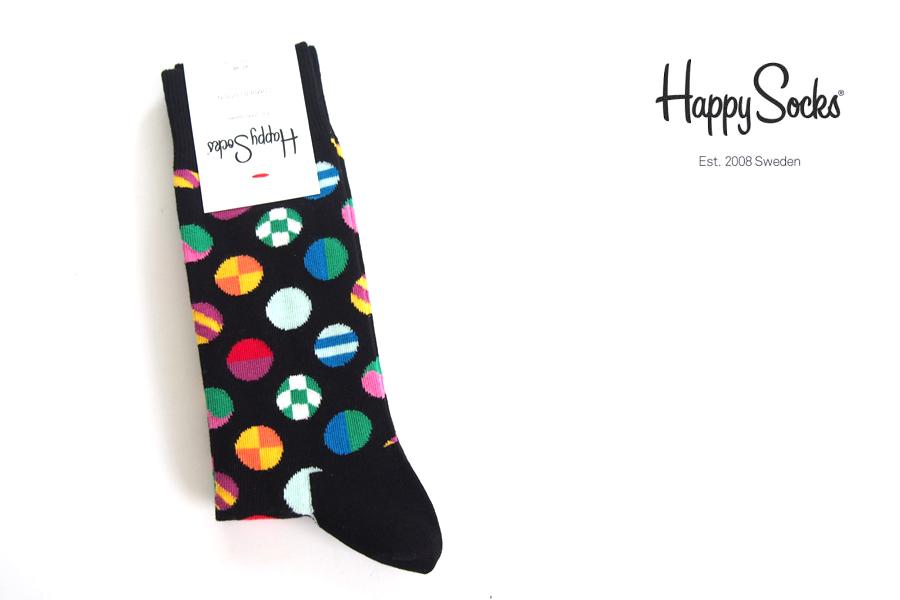 ハッピーソックス|happy socks|クルー丈カジュアルソックス|マルチドット柄ソックス|CLASHING DOT|10117007|ブラックイメージ01