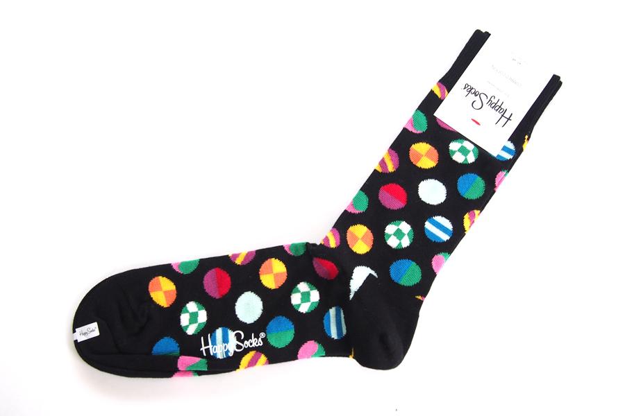ハッピーソックス|happy socks|クルー丈カジュアルソックス|マルチドット柄ソックス|CLASHING DOT|10117007|ブラックイメージ02