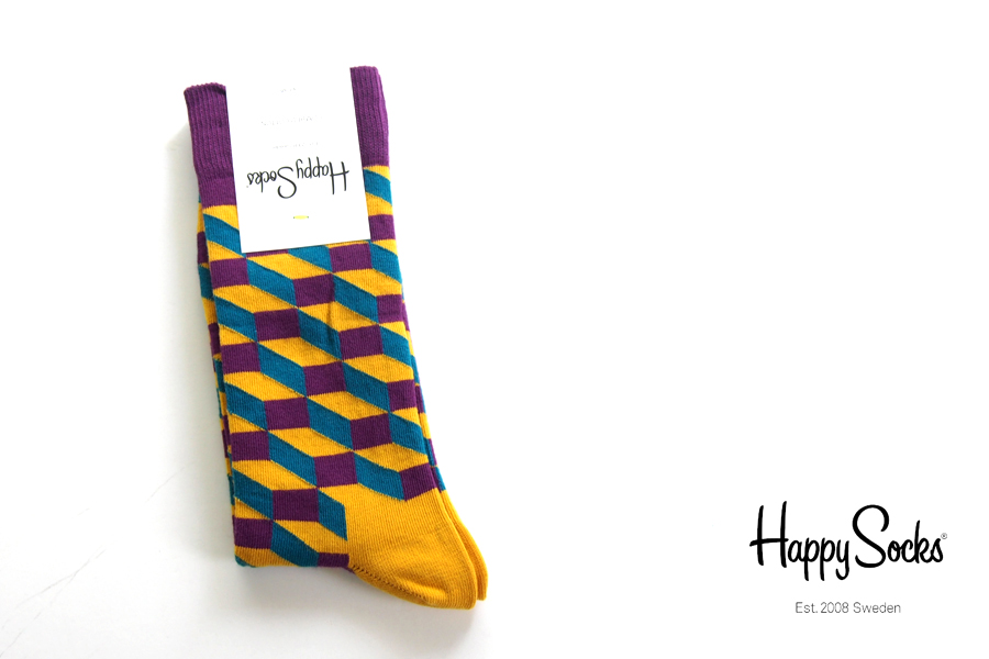 ハッピーソックス|happy socks|クルー丈カジュアルソックス|オプティックソックス|FILLED OPTIC SOCK|パープル×マスタード×ブルーイメージ01