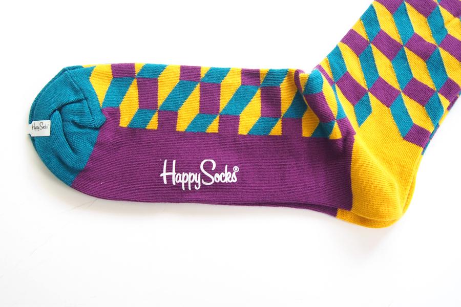 ハッピーソックス|happy socks|クルー丈カジュアルソックス|オプティックソックス|FILLED OPTIC SOCK|パープル×マスタード×ブルーイメージ03