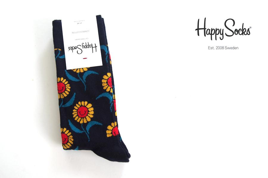 ハッピーソックス|happy socks|クルー丈カジュアルソックス|ひまわり柄ソックス|SUN FLOWER|10117032イメージ01