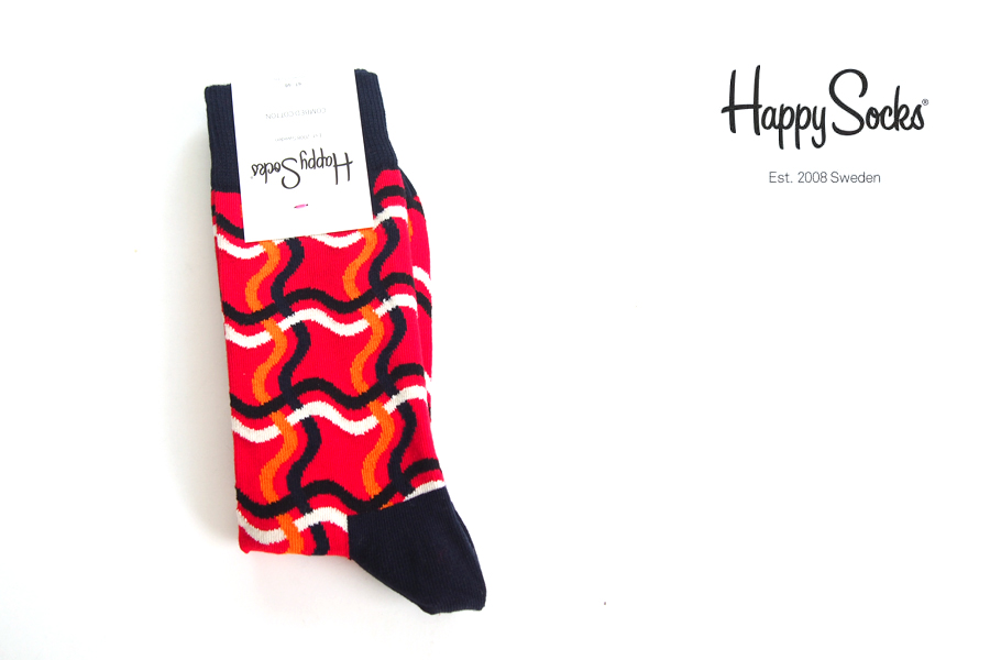 ハッピーソックス happy socks クルー丈カジュアルソックス ライン柄ソックス SQUIGGLY 10117035イメージ01