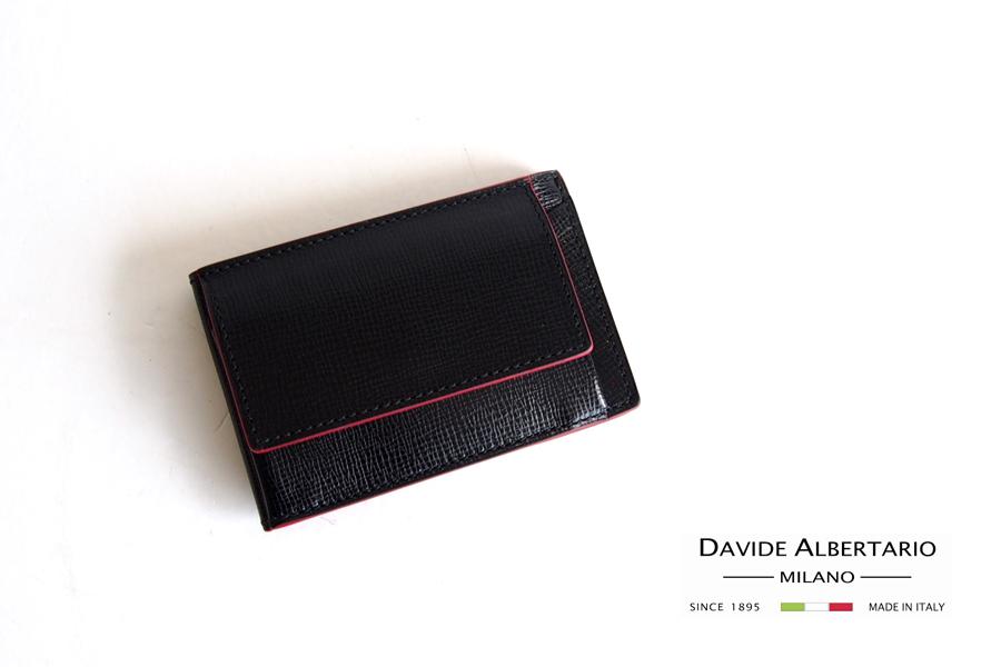 ダヴィデ アルベルタリオ |DAVIDE ALBERTARIO|グレインレザースマートウォレット|阪急別注|ブラックイメージ01